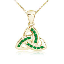 "Channel Set Emerald Celtic Knot Pendant Necklace 14K Yellow Gold 18"" Chain"