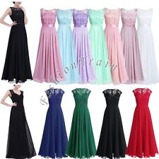 Elegant Women Lace Long Chiffon Bridesmaid Wedding Evening Party Ball Gown Dress