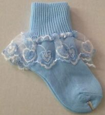 "NWT 3-SET CUTE BABY TODDLER NYLON SOCKS ANKLE CUFF 1.5""in LACE RUFFLE TRIM S,M,L"