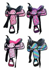 "Brand New 10"" Colorful Print Synthetic Western Saddle w/ Headstall Breast Collar"
