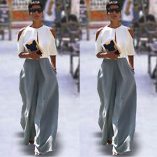 OL Women Casual Summer Palazzo High Waist Career Wide Leg Trousers Loose Pants
