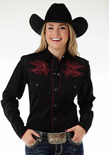 Roper Guitar Note Ladies Black Poly/Rayon Old West L/S Shirt