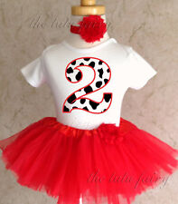 Cowgirl Cow Print Red 2nd Birthday Shirt Tutu Outfit Set girl party dress