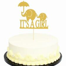 20pcs Baby Shower Gender Reveal Glitter Elephant Its a Girl Boy Cake Toppers