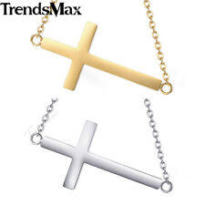 Ladies Womens Chain Stainless Steel Gold Silver Charm Necklace Cross Rolo Link
