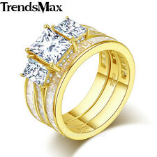 9mm Womens 925 Sterling Silver Gold Wedding Engagement US Sz 6-9 Band Ring