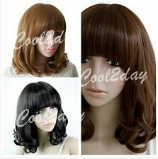 Women Medium Long black/brown Wave Curly Wigs Fashion Korean Wig Full Wigs+Cap