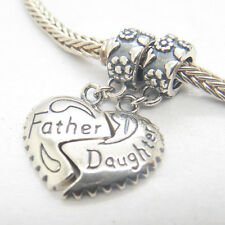 Genuine Authentic S925 Sterling Silver father and daughter heart Dangle Charm
