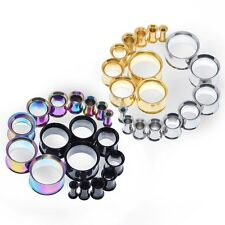 1Pair Ear Gauges Tunnel Plug Stainless Steel Expanders Stretcher Double Flare