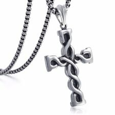 Mens Chain 316L Stainless Steel Silver Tone Cross Pendant Necklace Knot Box Link