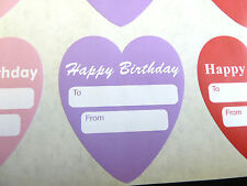 Happy Birthday Gift and Present Tags, Heart Labels. For Cards, Gifts, Envelopes