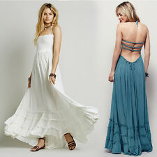 Women Vintage Hippie Boho Halter Gown Cocktail Party Backless Long Maxi Dress