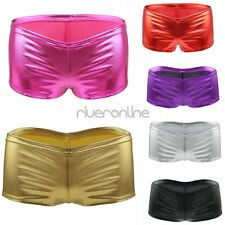 Sexy Womens Shiny Metallic Stretch Tights Dance Booty Shorts Pants Club Costume