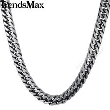 8/10mm Mens Chain Boys Stainless Steel Silver Cut Curb Cuban Rombo Link Necklace
