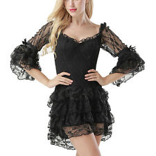 Victorian Ruffle Floral Lace Off-Shoulder Mini Dress Gothic Flare Sleeve Dress
