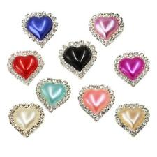 10pcs Flatback Crystal Pearl Heart Embellishment Buttons for Scrapbooking Crafts