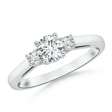 Round Forever Brillaint Moissanite Past Present Future Engagement Ring 14k Gold