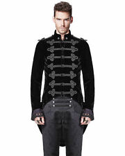 Handmade Men Tail coat Black Velvet Goth Steampunk Victorian Aristocrat Solid