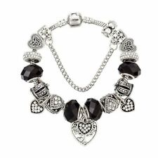 Silver Black Color Beads Heart Shape Charms Bracelet For Women