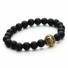 Black Color Stone Beads Decorated Gold Plated Bracelet For Unisex JEK1192