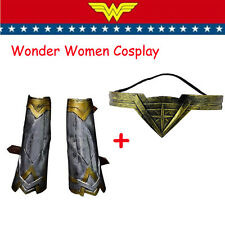 Wonder Woman Arm Bracers Gauntlet Cuffs+Headband Crown Halloween Cosplay Outfit
