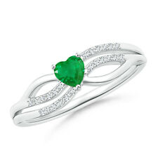 Solitaire Emerald Diamond Heart Promise Ring Silver/ 14K White Gold Size 3-13