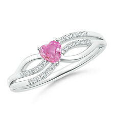 Solitaire Pink Sapphire Diamond Heart Promise Ring 14K White Gold Size 3-13