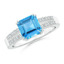 2.2 ctw Emerald Cut Swiss Blue Topaz Ring with Diamond 14k White Gold Size 3-13
