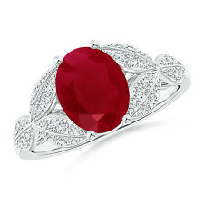 Ruby and Diamond Trillium Petal Flower Ring 14k White Gold Size 3-13