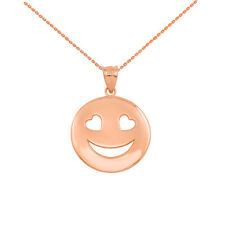 10k Solid Rose Gold Heart Eyes Smiley Face Round Pendant Necklace