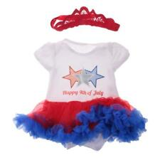 Happy 4th of July Star Cotton Infant Baby Dress Body Suit with Headband Outfits
