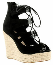 New Ladies/Womens Black Dolcis Hillary Wedge Lace Ups Sandals