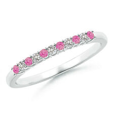 Pink Sapphire With Diamond Half Eternity Wedding Band for Women 14K White Gold