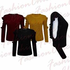 Womens Ladies Frill Cut Out Designer Long Sleeve Knitted Jumper Top Size UK 8-14