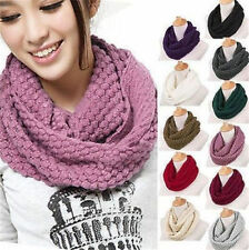 Fashion Women Warm Knit Neck Circle Wool Cowl Snood Long Scarf Shawl Wrap 013