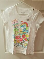NWT JUSTICE White Summer Vacation Check list T-shirt Size 16  new