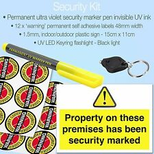 Permanent UV Security Marker Pen Invisible Ink✔Stickers✔Flash Light✔Security Kit