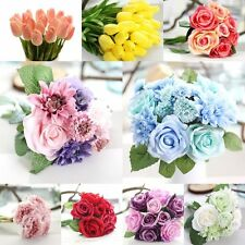 Artificial Silk Fake Flowers Leaf Peony Floral Bouquet Home Wedding Party Decor