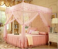 Pink 4 Corners High QC Post Bed Canopy Mosquito Net Twin-XL Full Queen Cal King