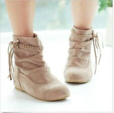 Womens preppy girls Flat Ankle Boots Tassels Fringe Faux Suede pull on Shoes sz