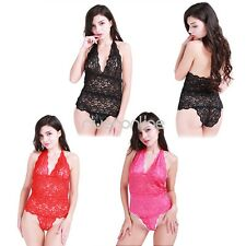 Sexy Womens One Piece Lingerie Teddy Nightwear Lace Halter Underwear Sleepwear