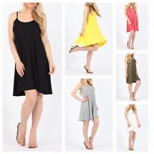 NEW WOMENS LADIES PLAIN BASIC JERSEY FLARED CAMI SWING DRESS TOP PLUS SIZE 8-26