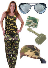 Fancy Dress Ladies Army Vest Trousers Dog Tag Glasses Cap Hen Party Paintball
