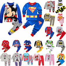 Baby Boys Girls Sleepwear Cartoon Kids T-shirt Tops Pants Nightwear Outfits Pj's