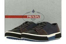 NEW PRADA BLUE GRAY CANVAS SUEDE LOGO LACE-UP CASUAL SNEAKER SHOES 7.5/US 8.5