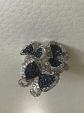 Blue & Clear Swarovski Crystals Butterfly Flower Cocktail Ring Sz 5.5 - 9 -11.5