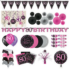 80th Birthday Party Decorations Pink Silver Tableware Plates Cups Napkin Cutlery