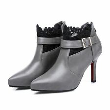 Gray Color Cotton Fabric Belt Zipper With Heels Ankle Boots For Women