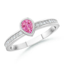 Pear Shaped Pink Sapphire Stackable Ring with Diamond Accents 14K White Gold