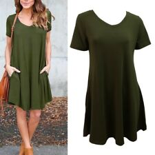 Women Short Sleeve Dress Loose Party Evening Cocktail Mini Dress Long Top Blouse